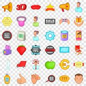 Advertising Icons Set. Cartoon Style Of 36 Advertising Icons For Web For Any Design poster