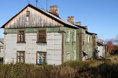 stock photo of murmansk  - Old apartment wooden building in Murmansk Russia - JPG