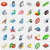 Analytics And Statistics Icons Set. Isometric Style Of 36 Analytics And Statistics Icons For Web For poster