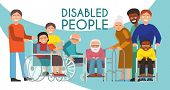 Disabled Peolple Active Life Banner Handicapped Children Old People In Wheelchair Vector Illustratio poster