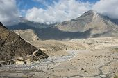 foto of kali  - Kali Gandaki valley with the village of Marpha in the background - JPG