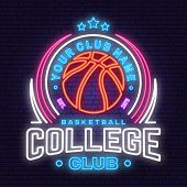 Basketball College Club Neon Design Or Emblem. Vector Illustration. Concept For Shirt, Print, Stamp  poster
