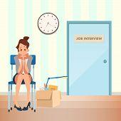 Unconfident Woman Wait Job Interview In Corridor. Unemployment Girl Sit On Chair Infront Of Door At  poster