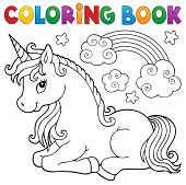 Coloring Book Stylized Unicorn Theme 1 - Eps10 Vector Picture Illustration. poster