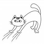 Cat Arch Back. Kitten Scratching. Scratch Track. Doodle Linear Sketch. Black Contour Silhouette. Cut poster
