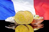 Bitcoins On A Background Of A Flag France. Bitcoins And France Flag. Concept For Investors In Crypto poster