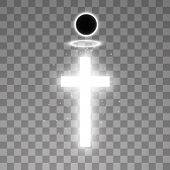 Shining White Cross And White Halo Angel Ring And Total Solar Eclipse On Transparent Background. Glo poster