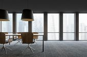 Modern Conference Room Interior With Window poster