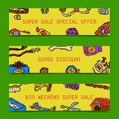 Pet Care Supply Funny Colorful Banner Petsshop Advertising Bookmark With Dog Kennel Vector Illustrat poster