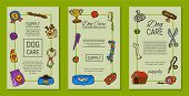 Pet Care Supply Funny Colorful Card Petsshop Advertising Bookmark With Dog Kennel Vector Illustratio poster