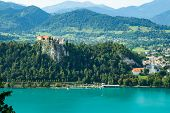 View Of Famous Castle Above The Bled Lake, Slovenia poster