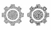 Service Cog Wheel Icon Mosaic Of Service Tools. Abstract Vector Cog Wheel Symbol Is Organized Of Gea poster