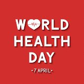 World Health Day 3d Lettering With Heart And Heartbeat On Red Background. Medicine And Healthcare Ty poster