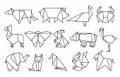 Line Origami Animals. Abstract Polygon Animals, Folded Paper Shapes, Modern Japan Design Templates.  poster