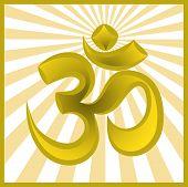 image of shakti  - Hinduism religion golden symbol om on sun burst background - JPG