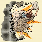 Moses With Tablets Of The Covenant 10 Commandments Breaks A Wall, Destroys Stereotypes. Christian An poster