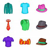 Man Elegant Clothes Icon Set. Cartoon Set Of 9 Man Elegant Clothes Icons For Web Design Isolated On  poster