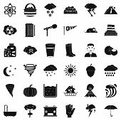 Meteorology Icons Set. Simple Style Of 36 Meteorology Icons For Web Isolated On White Background poster