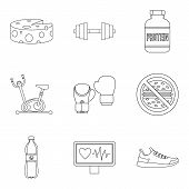 Heartbeat Icons Set. Outline Set Of 9 Heartbeat Icons For Web Isolated On White Background poster
