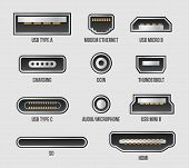 Creative Vector Illustration Of Usb Computer Universal Connectors Icon Symbol Isolated On Transparen poster