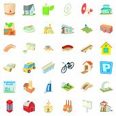 Skyscraper Icons Set. Cartoon Style Of 36 Skyscraper Icons For Web Isolated On White Background poster