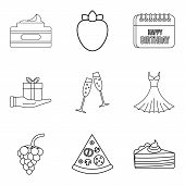 Celebratory Evening Icons Set. Outline Set Of 9 Celebratory Evening Icons For Web Isolated On White  poster