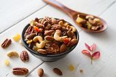 Mix Nuts And Dried Fruits Background And Wallpaper. Seen In Top View Of Mix Nuts And Dried Fruits In poster