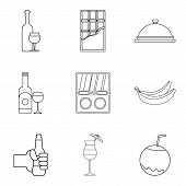 Drinking Evening Icons Set. Outline Set Of 9 Drinking Evening Icons For Web Isolated On White Backgr poster
