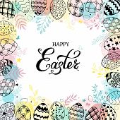 Easter Frame With Easter Eggs And Text Happy Easter Hand Drawn Black On White Background. Decorative poster