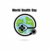Globe Sign And Stethoscope Vector Logo Design Template.world Health Day Icon.world Health Day Idea C poster