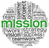 Mission and business concept in word tag cloud isolated on white background