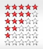 Five stars ratings web 2.0 button. Red and gray shapes on white background