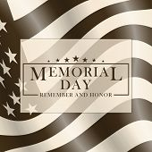Memorial Day Background With Usa Flag And Lettering. Black And White Template For Memorial Day Desig poster