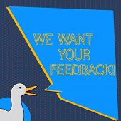 Text Sign Showing We Want Your Feedback. Conceptual Photo Criticism Given Someone Say Can Be Done Fo poster