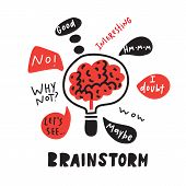 Brainstorm. Funny Hand Drawn Illustration Of Brainstorming Process. Brain Inside The Lamp. Vector. poster