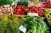 Farmers Food Market With Fresh, Varied, Seasonal, Organic Vegetables And Fruits. Bio Food For Health poster