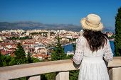 Tourist Travel In Split In Dalmatia, Croatia. poster