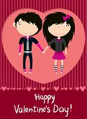 picture of emo-boy  - Love couple   boy and girl greeting card - JPG