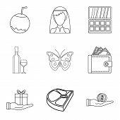 Restaurant Evening Icons Set. Outline Set Of 9 Restaurant Evening Icons For Web Isolated On White Ba poster