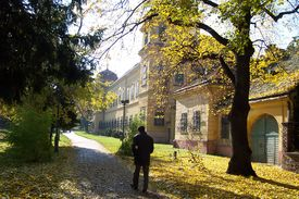 foto of tatas  - Lonely man walking to a village castle entrance in Tata Hungary.