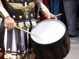 stock photo of spqr  - Detail of battalion drums during Roman epic reenactment  - JPG