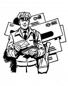 Postman Delivering Mail - Retro Clipart Illustration