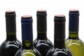 pic of wine bottle  - 5 wine bottles over white - JPG