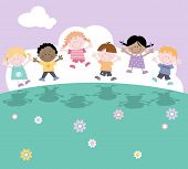 stock photo of nursery rhyme  - Multi cultural children playing happily outdoors  or in playground - JPG