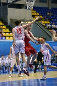 KIEV, UKRAINE - AUGUST 8: Fight under the backboard during the U16 Eurobasket  2013 First round matc