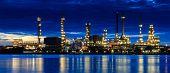foto of greenpeace  - Oil refinery plant area at twilight - JPG