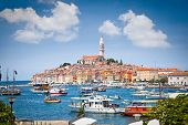 Panoramic view on old town Rovinj from harbor. Istria peninsula, Croatia