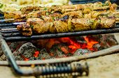 picture of kababs  - beef kababs on the grill closeup at camping site - JPG