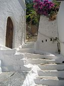 Old And Worn Whitewashed Steps