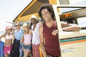 pic of campervan  - Group of multiethnic young people with campervan - JPG